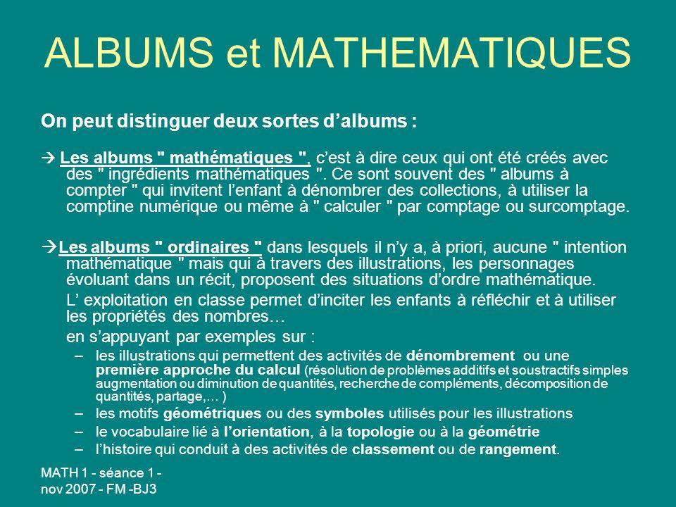 ALBUMS et MATHEMATIQUES