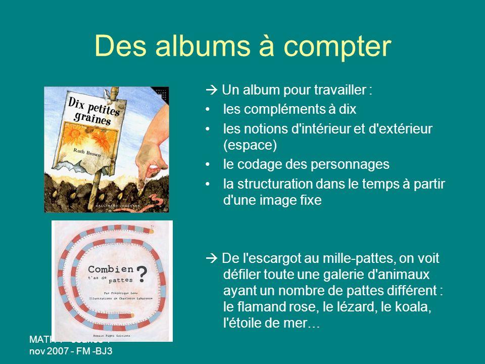 Des albums à compter  Un album pour travailler :