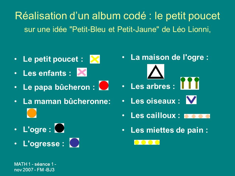 Réalisation d'un album codé : le petit poucet sur une idée Petit-Bleu et Petit-Jaune de Léo Lionni,