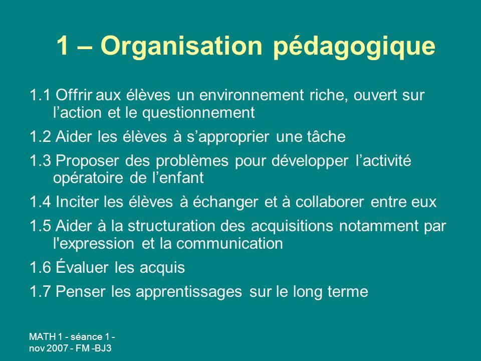 1 – Organisation pédagogique