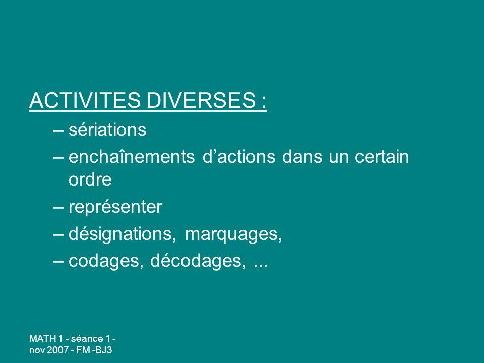 ACTIVITES DIVERSES : sériations