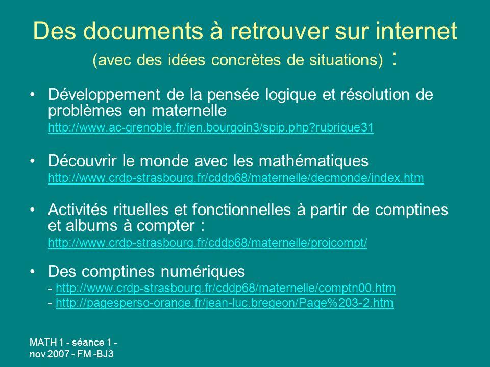 Des documents à retrouver sur internet (avec des idées concrètes de situations) :