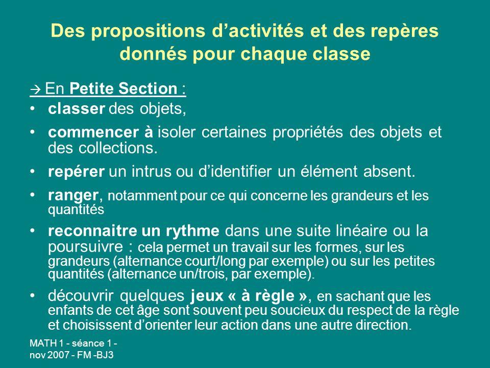 Des propositions d'activités et des repères donnés pour chaque classe