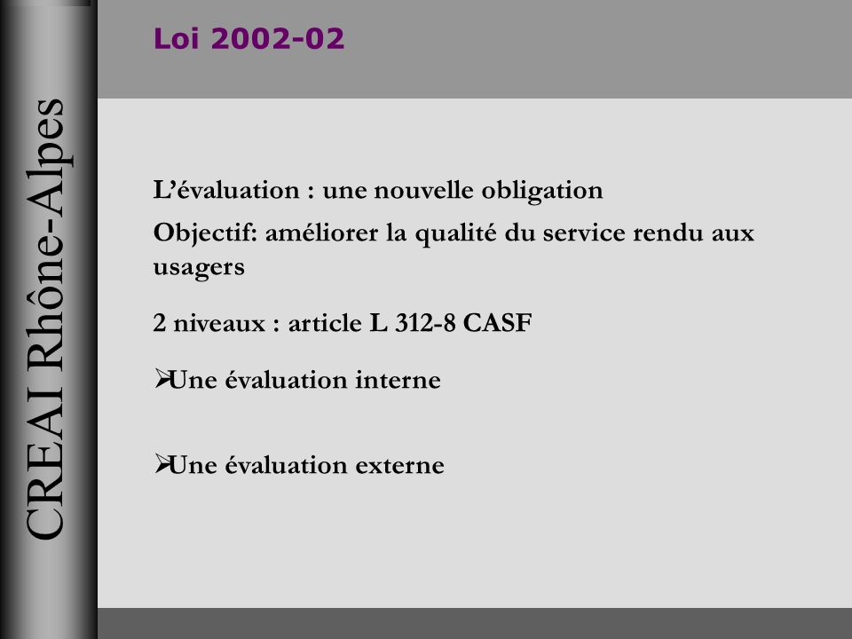 CREAI Rhône-Alpes Loi 2002-02 L'évaluation : une nouvelle obligation