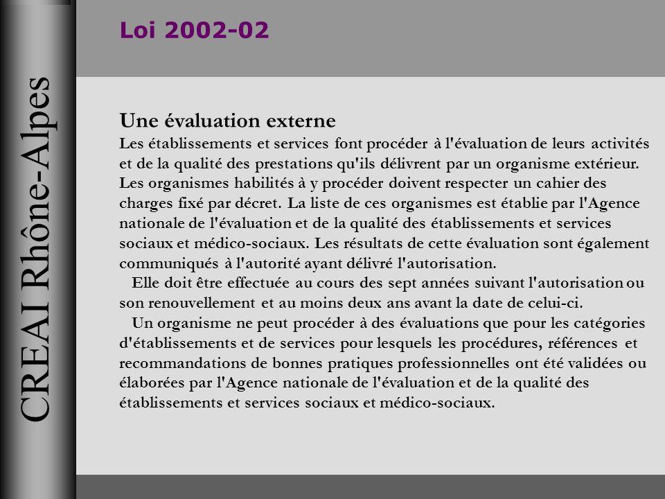 CREAI Rhône-Alpes Loi 2002-02 Une évaluation externe