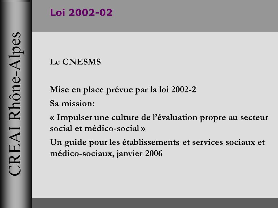 CREAI Rhône-Alpes Loi 2002-02 Le CNESMS