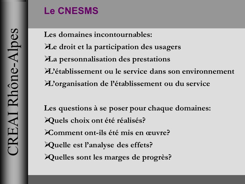 CREAI Rhône-Alpes Le CNESMS Les domaines incontournables: