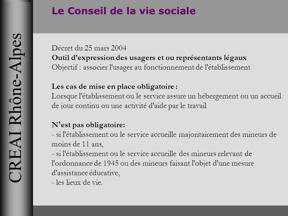 CREAI Rhône-Alpes Le Conseil de la vie sociale Décret du 25 mars 2004