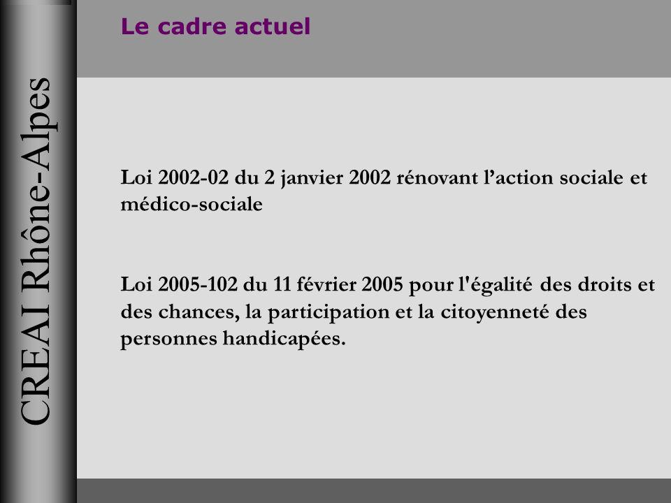 CREAI Rhône-Alpes Le cadre actuel