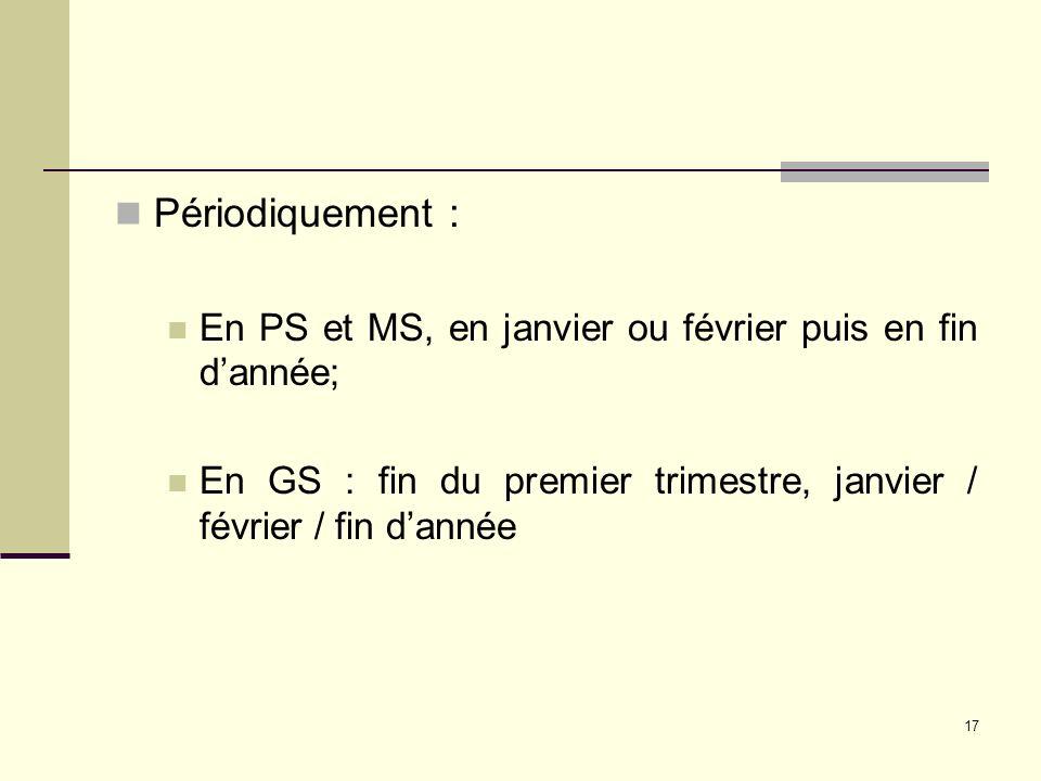Périodiquement : En PS et MS, en janvier ou février puis en fin d'année; En GS : fin du premier trimestre, janvier / février / fin d'année.