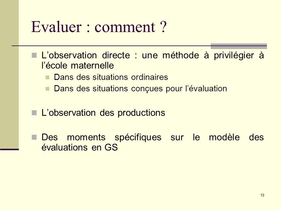 Evaluer : comment L'observation directe : une méthode à privilégier à l'école maternelle. Dans des situations ordinaires.