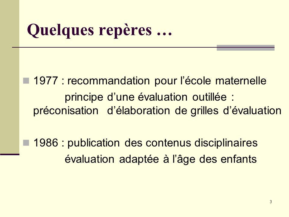 Quelques repères … 1977 : recommandation pour l'école maternelle