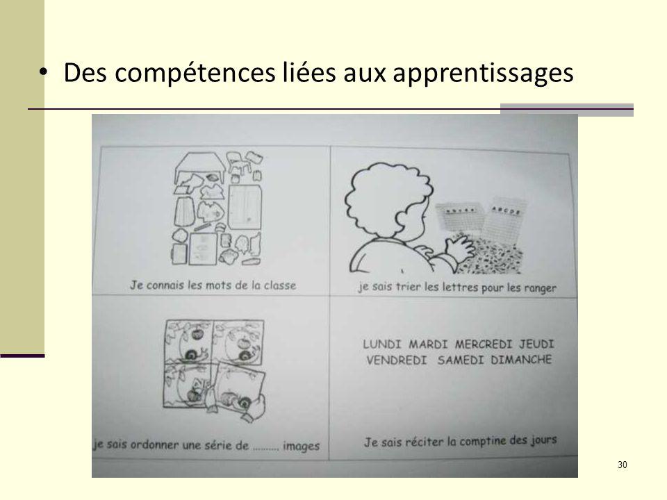 Des compétences liées aux apprentissages