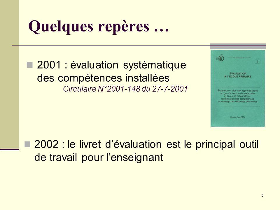 Quelques repères … 2001 : évaluation systématique des compétences installées. Circulaire N°2001-148 du 27-7-2001.