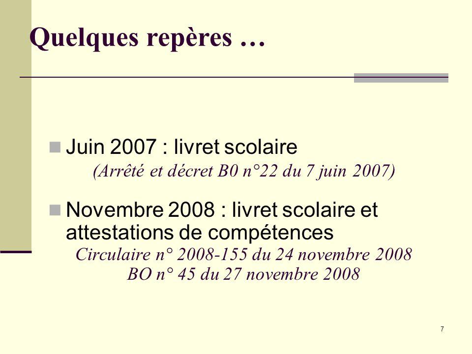 Quelques repères … Juin 2007 : livret scolaire