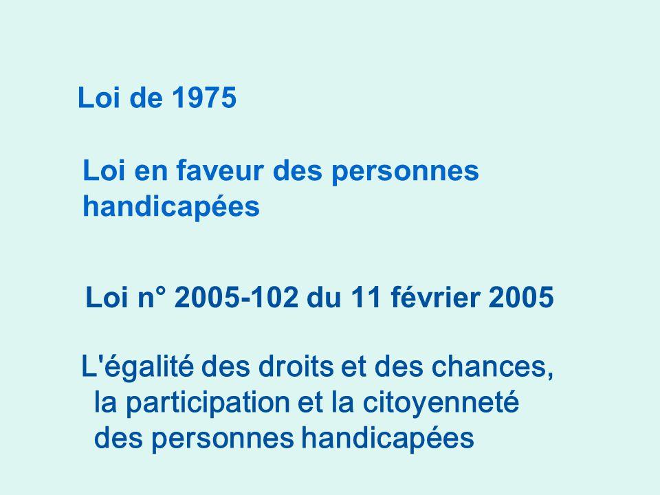 Loi de 1975 Loi en faveur des personnes handicapées. Loi n° 2005-102 du 11 février 2005. Comparaison des 2 lois.