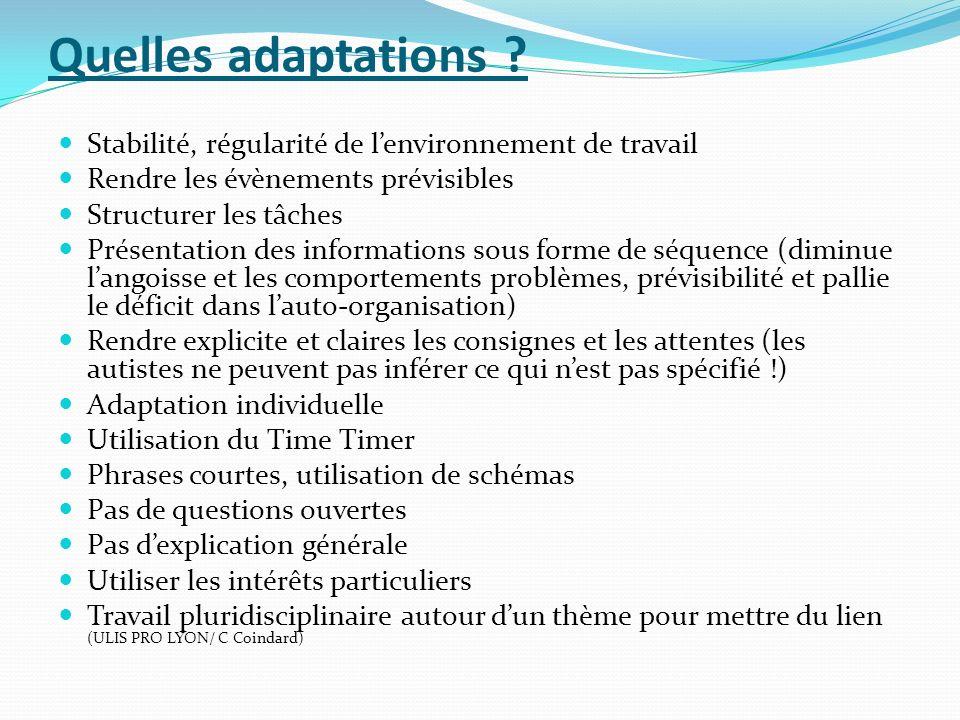 Quelles adaptations Stabilité, régularité de l'environnement de travail. Rendre les évènements prévisibles.