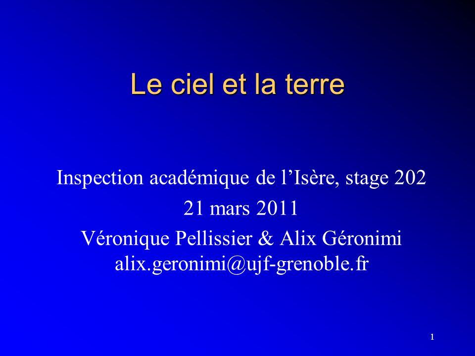 Le ciel et la terre Inspection académique de l'Isère, stage 202