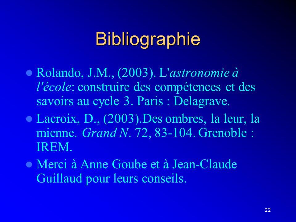 Bibliographie Rolando, J.M., (2003). L astronomie à l école: construire des compétences et des savoirs au cycle 3. Paris : Delagrave.