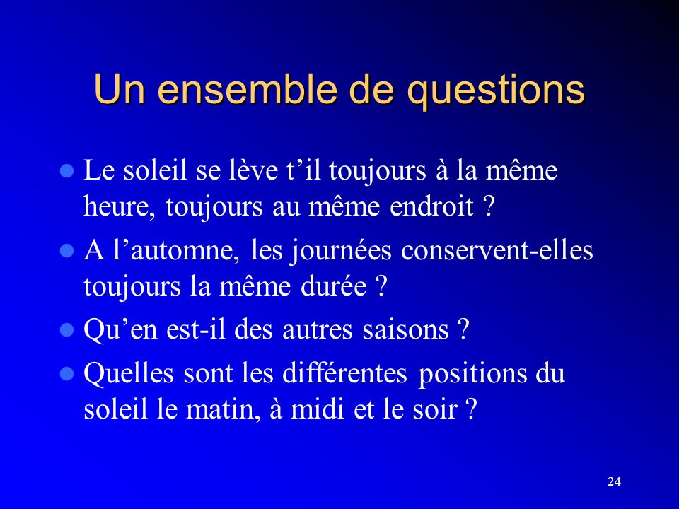 Un ensemble de questions