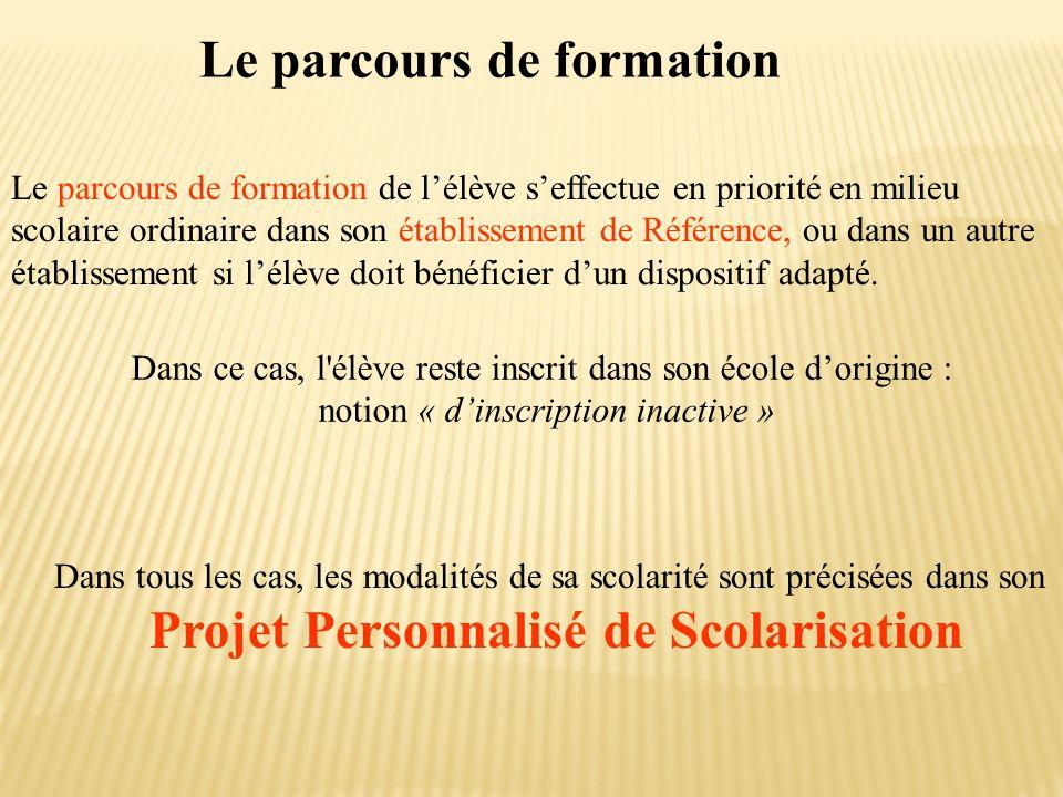 Le parcours de formation Projet Personnalisé de Scolarisation
