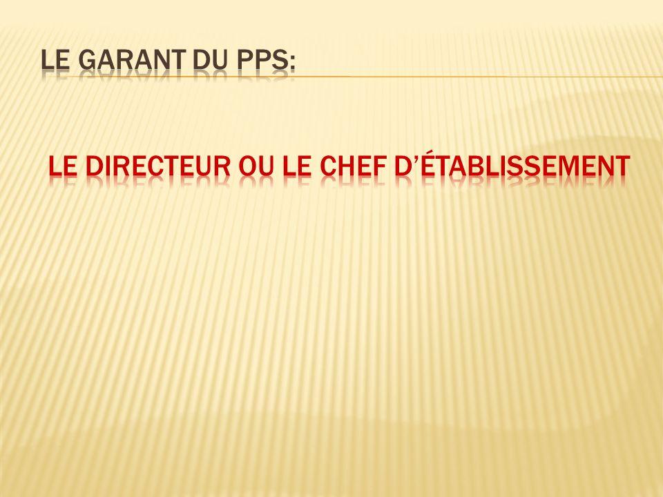 Le garant du PPS: le Directeur ou le chef d'établissement