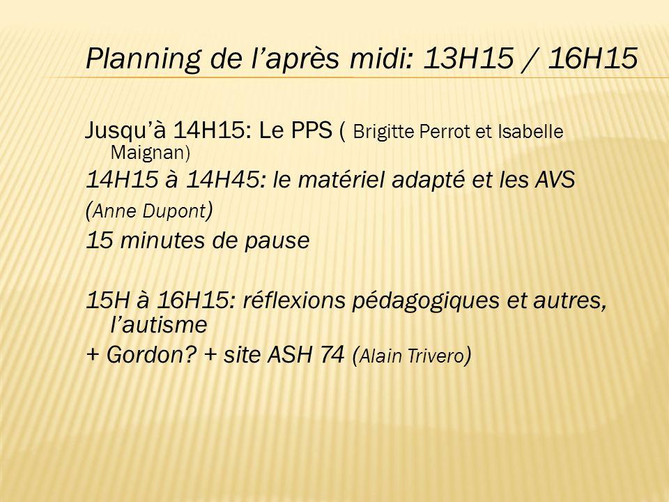 Planning de l'après midi: 13H15 / 16H15