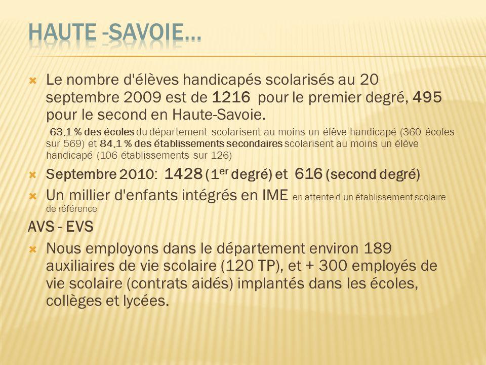 Haute -Savoie…Le nombre d élèves handicapés scolarisés au 20 septembre 2009 est de 1216 pour le premier degré, 495 pour le second en Haute-Savoie.