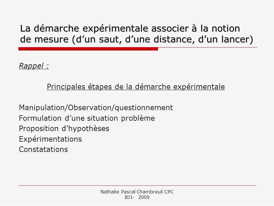 La démarche expérimentale associer à la notion de mesure (d'un saut, d'une distance, d'un lancer)