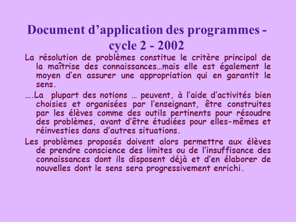 Document d'application des programmes - cycle 2 - 2002