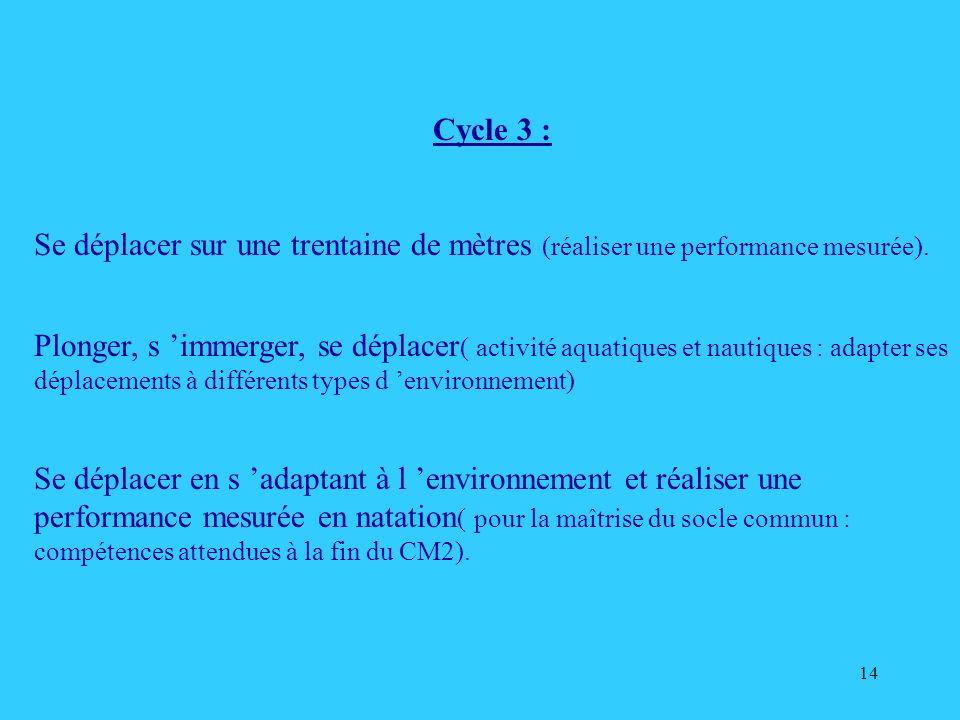 Cycle 3 : Se déplacer sur une trentaine de mètres (réaliser une performance mesurée).