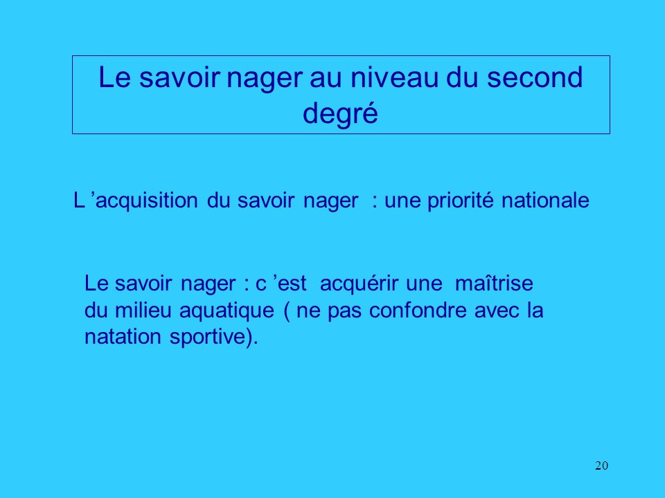 Le savoir nager au niveau du second degré