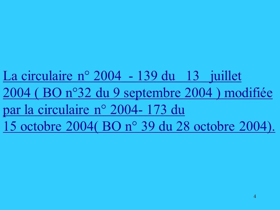 La circulaire n° 2004 - 139 du 13 juillet 2004 ( BO n°32 du 9 septembre 2004 ) modifiée par la circulaire n° 2004- 173 du
