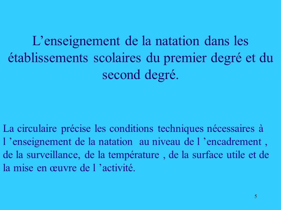 L'enseignement de la natation dans les établissements scolaires du premier degré et du second degré.