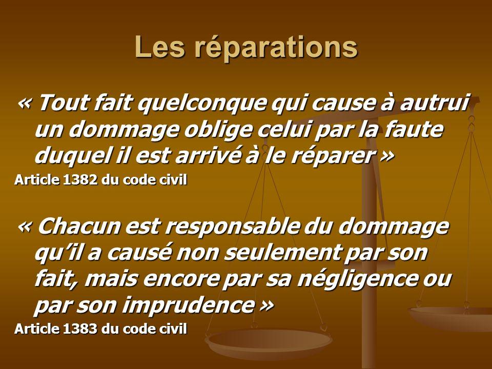 Les réparations« Tout fait quelconque qui cause à autrui un dommage oblige celui par la faute duquel il est arrivé à le réparer »