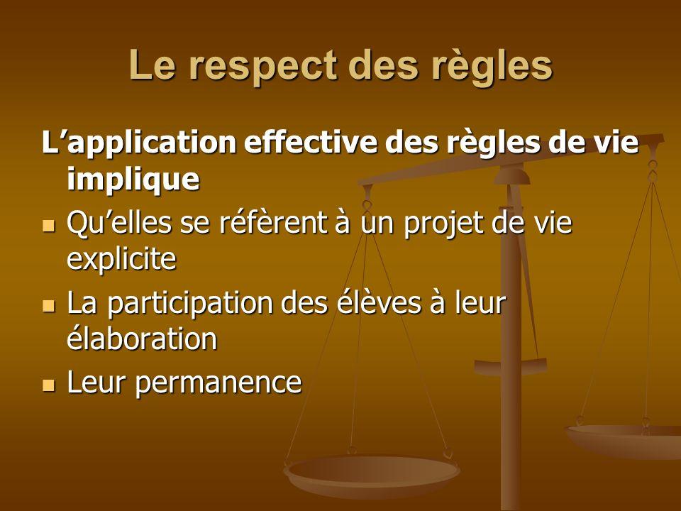 Le respect des règles L'application effective des règles de vie implique. Qu'elles se réfèrent à un projet de vie explicite
