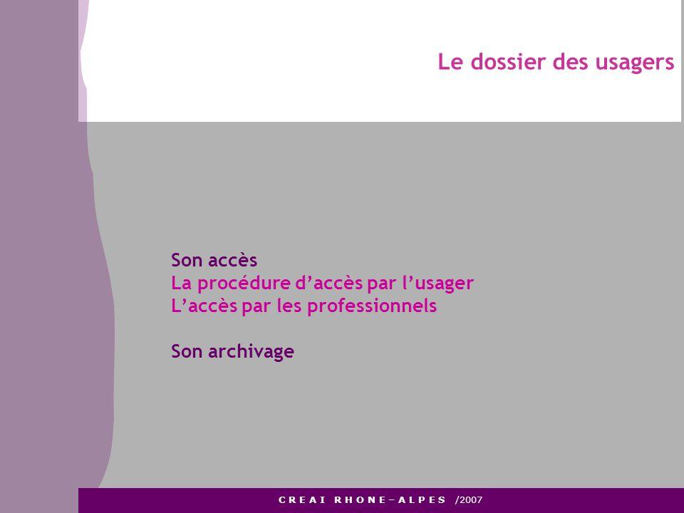 Le dossier des usagers Son accès La procédure d'accès par l'usager
