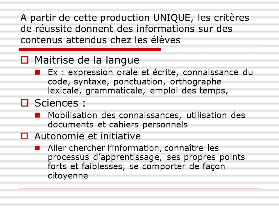 Maitrise de la langue Sciences :