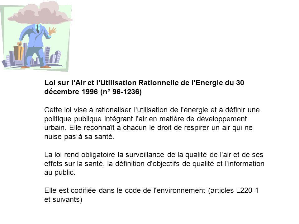 Loi sur l Air et l Utilisation Rationnelle de l Energie du 30 décembre 1996 (n° 96-1236)