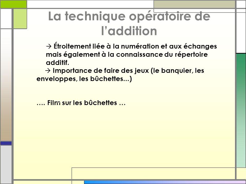 La technique opératoire de l'addition