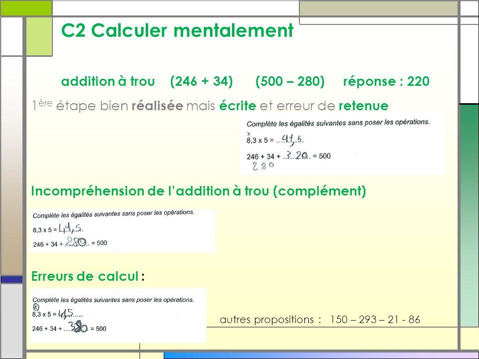 C2 Calculer mentalement addition à trou (246 + 34) (500 – 280) réponse : 220