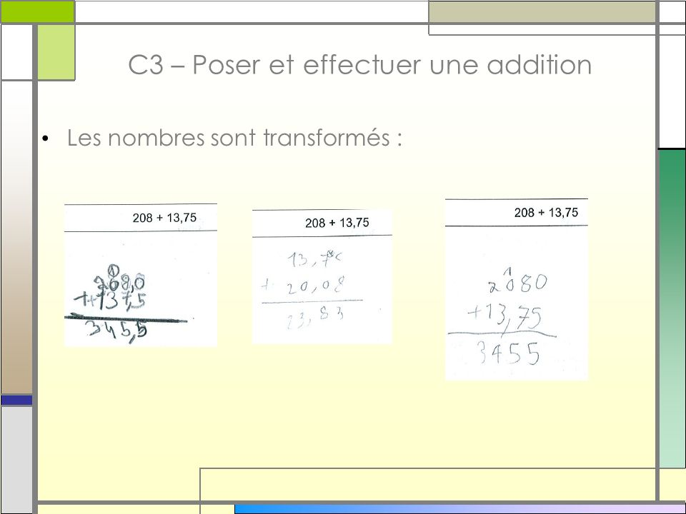 C3 – Poser et effectuer une addition