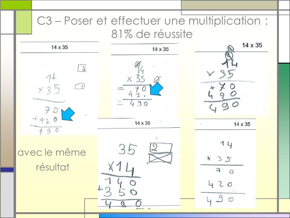 C3 – Poser et effectuer une multiplication : 81% de réussite