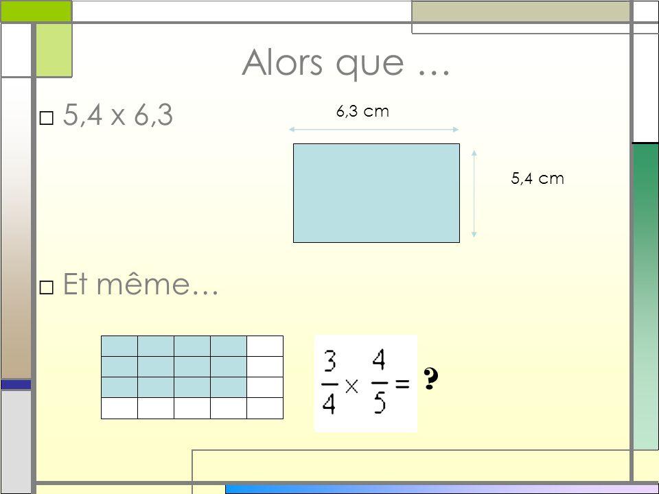 Alors que … 5,4 x 6,3 Et même… 6,3 cm 5,4 cm 31