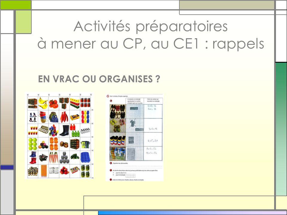 Activités préparatoires à mener au CP, au CE1 : rappels