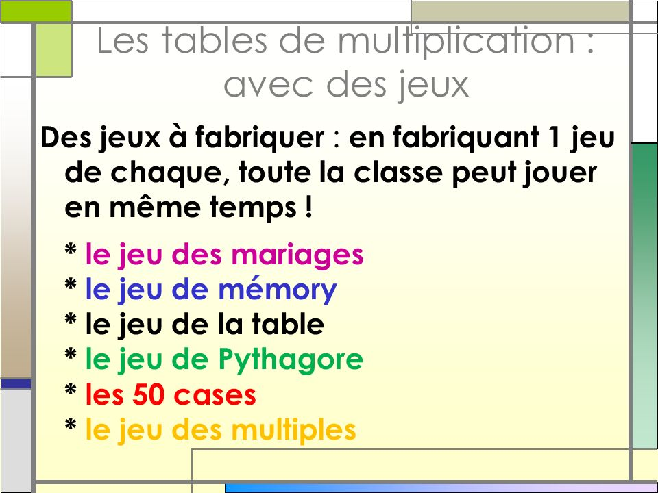 Les tables de multiplication : avec des jeux