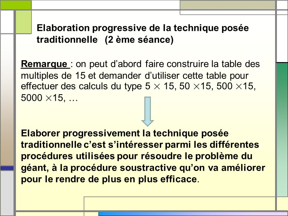 Elaboration progressive de la technique posée traditionnelle (2 ème séance)