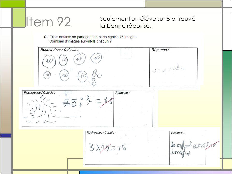 Item 92 Seulement un élève sur 5 a trouvé la bonne réponse. 9