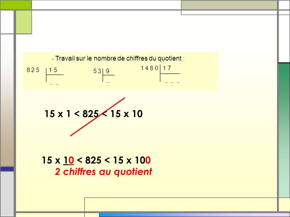 15 x 1 < 825 < 15 x 10 15 x 10 < 825 < 15 x 100 2 chiffres au quotient