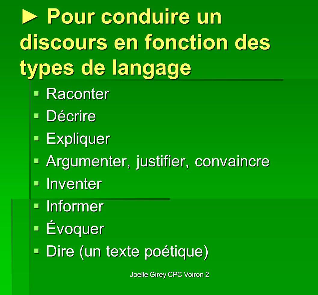 ► Pour conduire un discours en fonction des types de langage